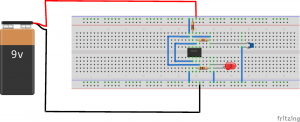 Breadboard circuit of  flashing led